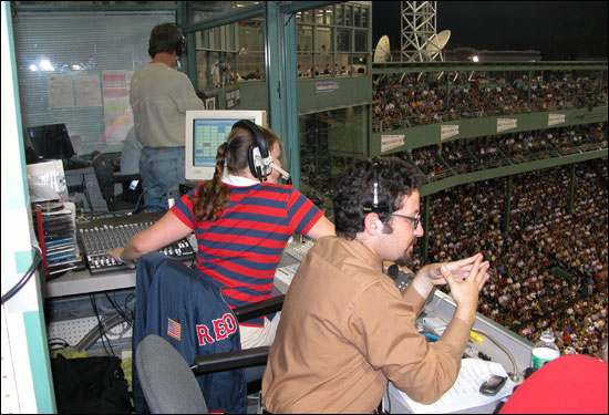 Dan Kischel, in-game entertainment director, and Megan Kaiser, Fenway DJ, at a recent game.