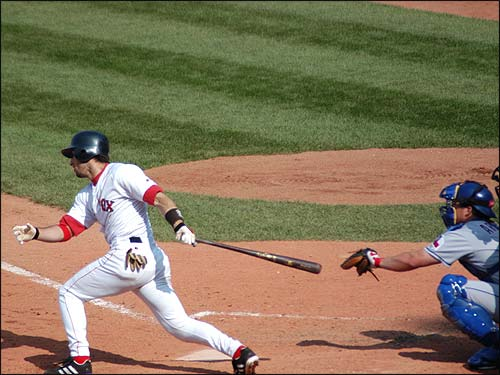 Nomar connects with a pitch from the Texas Rangers. (Photo submitted by Mike in Natick)