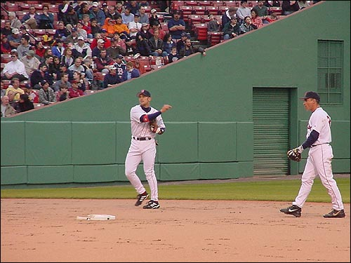 Nomar throws before a game against the Kansas City Royals at Fenway in April of 2002. (Photo submitted by Jim Gardner)