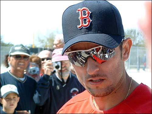 Nomar signs autographs after a spring training session. (Photo submitted by Wayne Hallstrom)