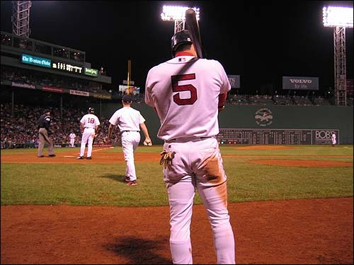 Nomar waits on-deck while the Sox take on the Orioles last September. (Photo submitted by Tom in Brookline)