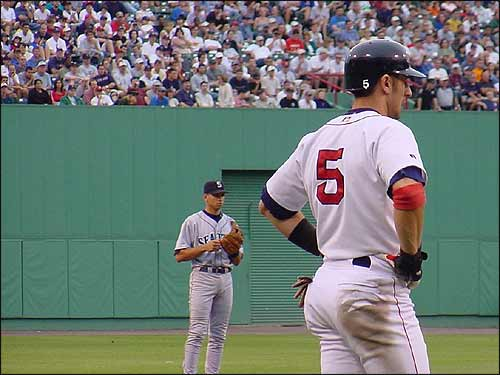 Nomar stands on third as then-Seattle Mariner Alex Rodriguez looks on. (Photo submitted by Mike Swartz)