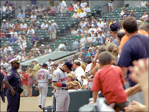Not just a fan favorite at Fenway, Nomar frequently made a habit of signing autographs and greeting fans in other cities as well. (Photo submitted by Robert Drew)