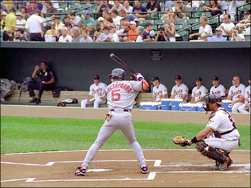 Nomar waits for the pitch from the Baltimore Orioles as the rest of team looks on from the dugout. (Photo submitted by Robert Drew)