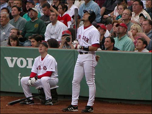 Nomar looks skyward as he follows a pop-up during his final game as a member of the Boston Red Sox . (Photo submitted by Jean from Virginia Beach)