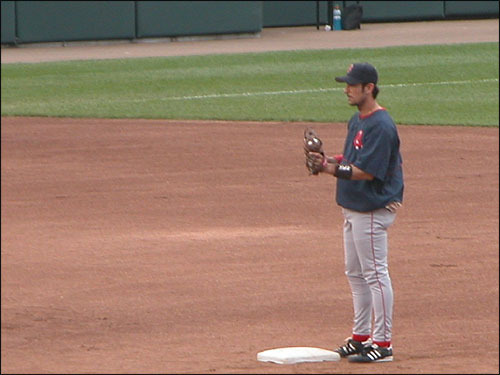 Nomar stands on the field during warmups of his last game as a Red Sox in Baltimore. (Photo submitted by Jean from Virginia Beach)
