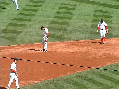Nomar takes his position during Game 4 of the 2003 ALDS at Fenway Park. (Photo submitted by Liz Zalman from Marlborough)