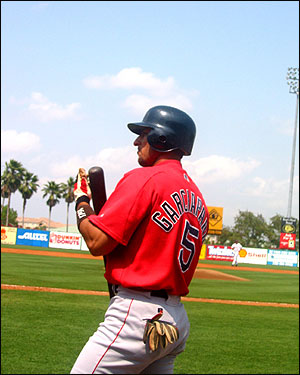 Nomar holds his bat under the blue skies of Spring Training in 2003. (Photo submitted by Beth Tierney)
