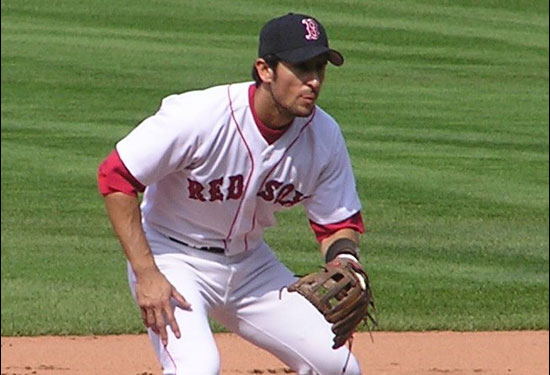 Nomar in his familiar position as Red Sox shortstop on July 11, 2004 vs. Texas.