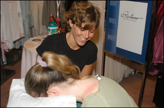 Suzanne DiMack from Giuliano on Newbury performed massages on some of the customers.