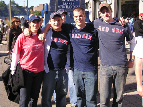 "What are Massachusetts residents (from left) Rebecca Gutner, Rod Foster, Bryan Hunkele and Dan Krockmalnic smiling about? Dan remains confident even after back-to-back losses to the Yankees: ""The Sox aren't out of it, they're going to sweep the Yankees next weekend,"" he said."