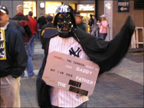 "Yes, Darth Vader has been at Yankee Stadium before rooting on the Evil Empire, but with Pedro Martinez calling the Yankees his ""Daddy,"" his presence has taken on a whole new meaning."