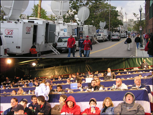 You can tell how big a series is by the number of news vans parked outside of Fenway and by the number of seats needed to accommodate media members in the spillover press area in right field.