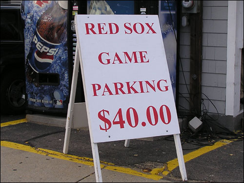 Parking pooh-bahs are cashing in on the Sox in the playoffs more than anyone. A spot in this Kenmore Square lot will cost you $40, but a ticket for parking illegally on the street in front of the lot runs just $25. Hmmm.