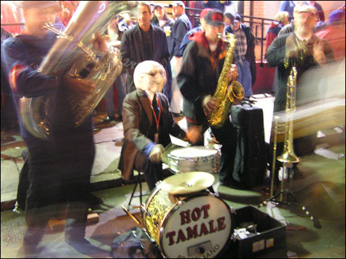 "The band ""Hot Tomale"" fired up the fans on Yawkey Way before Saturday's game."