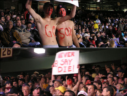 Brad Howe and Matt Thibeault led the cheers for section 26 during Boston's second-inning rally.