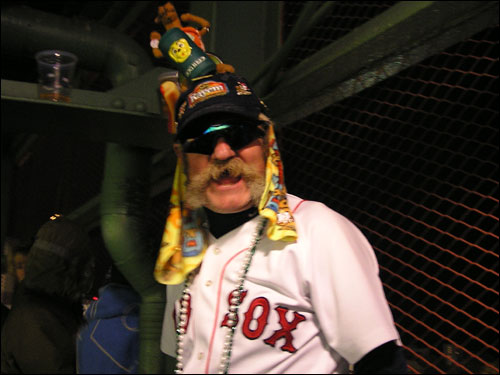 "What Red Sox photo gallery would be complete without a shot of the ""Dogman,"" Del Christman? Del sells hot dogs in the stands for Boston's Single-A affiliate, the Lowell Spinners."