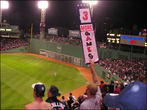 The Sox took care of business for the fans high above the right field roof that now have to change their sign to '2 more games.'