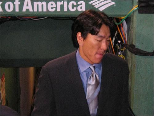 Hideki Matsui heads out of Fenway after finally cooling off last night. After hammering away at Boston pitching all weekend, Matsui was only 1-for-7 and left seven Yankees on base in the 14-inning marathon.
