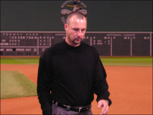 Tim Wakefield comes back from the interview room after last night's extra-inning win. He was the relief pitching star, shutting down the Yankees for three innings. He said the win showed the 'depth, character, heart, and guts of our ballclub.'