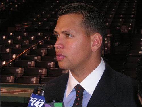 Alex Rodriguez, a non-factor last night in going 0-for-4 for the Yankees, addresses the media before getting on the bus out of Boston. He couldn't wait to get back to the Bronx for Game 6.