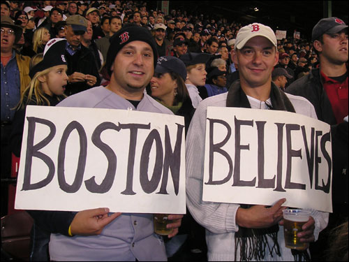 Tim Brown and Jay Diamato of Melrose got quite a lot of play on the Fox broadcast last night for sporting their 'Boston Believes' signs. The signs were recycled from last year's playoffs, but they expect a Game 7 win this time around.