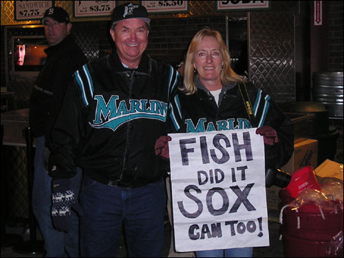 C.C. and Dawn Harrison came up to Fenway for the first time from Melbourne, Fla. to let the Nation know that if their Florida Marlins could knock off the Yankees, the Red Sox can do it too.