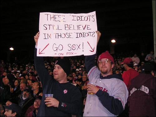 Matty Kelly and Steven Hayden from Norwood are smart enough to know the Idiots weren't going to go down as easy as they appeared to in the first three games. They think our Red Sox dopes will still be standing after Game 7.