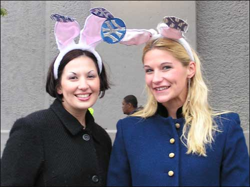 "No, the Playboy bunnies weren't romping through the Bronx last night. Lorraine Segro (left) of Egg Harbor Township, NJ and Connie Freestone of Point Pleasant, NJ wore the ears for luck. ""Better than hats,"" Freestone said."