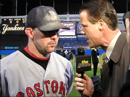 Trot Nixon is a popular interview after the game. Nixon hit just .207 in the series, but made a memorable defensive catch in Game 5.