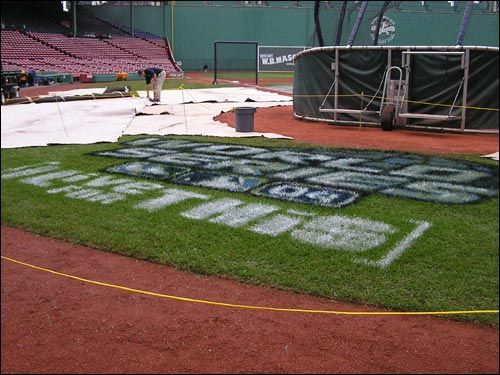 The Fenway Park grounds crew won't have to quickly disperse with the World Series logo in the Fenway grass as they did a year ago. Game 1 between the Red Sox and Cardinals is set for tomorrow night.