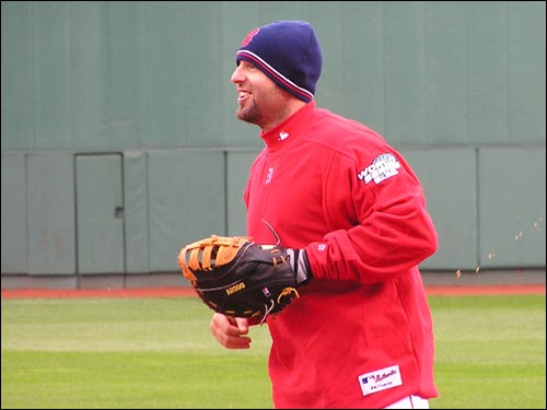 Kevin Millar gets in some practice at first base. Millar may lose some playing time when the series shifts to St. Louis. In the World Series, games played in National League cities are played with National League rules, meaning pitchers hit for themselves and the teams don't use a designated hitter. David Ortiz will likely play first for the Sox in St. Louis.