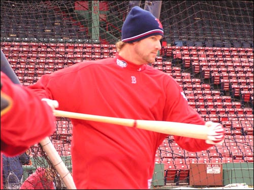 World Series Game 4 starter Derek Lowe limbers up with a bat. Lowe will be forced to bat for himself in his start at St. Louis.