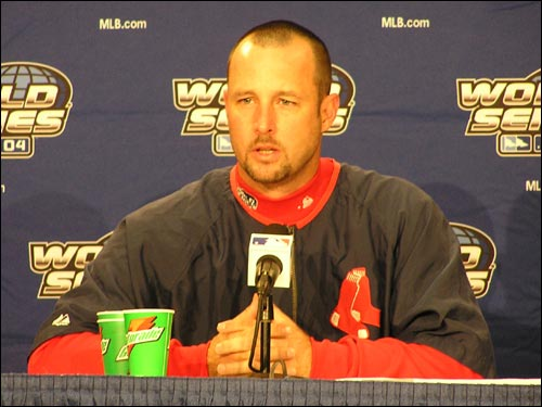 Game 1 starter Tim Wakefield meets with the media today.