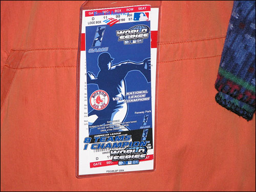Fans with tickets to Game 1 also received a commemorative ticket holder to wear around their necks.