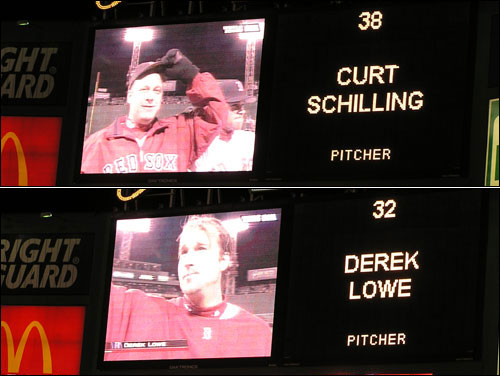 ALCS heroes Curt Schilling and Derek Lowe (who won Games 6 and 7, respectively) received the loudest ovations during pregame introductions.