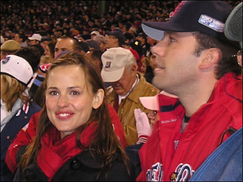 No Red Sox playoff game would be complete without a Ben Affleck sighting. He brought along Jennifer Lopez last year, but is seen here with new leading lady Jennifer Garner.