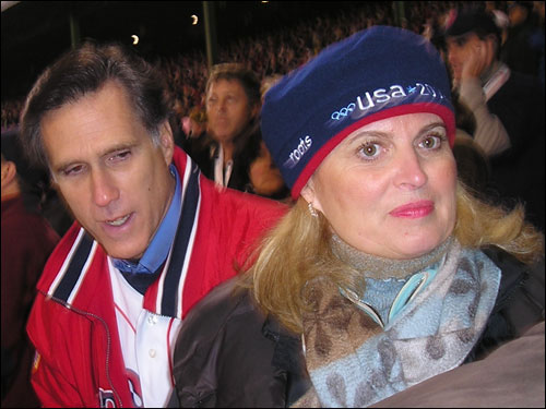 Massachusetts Governor Mitt Romney takes in Game 1 at Fenway with wife Ann.