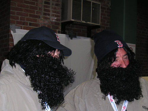 The Damon Disciples were ready for the first World Series game in 18 years in Boston. D'Angelo Damon uses his beard as a scarf to battle the blustery late October weather.