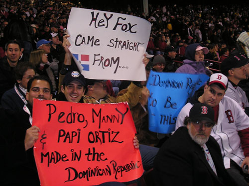 Frank Rainieri and his posse traveled from the Dominican Republic to see Fenway Park all dressed up for the World Series. They love both local Dominican stars Big Papi and Pedro Martinez, but have had enough of Sammy Sosa.