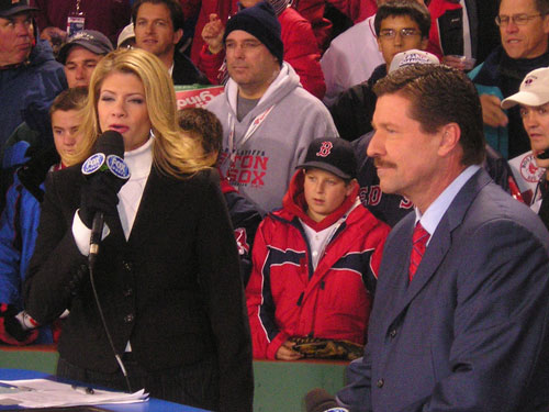 Fox's Jeannie Zelasko and Kevin Kennedy did the pregame show from just up the third base line toward left field.
