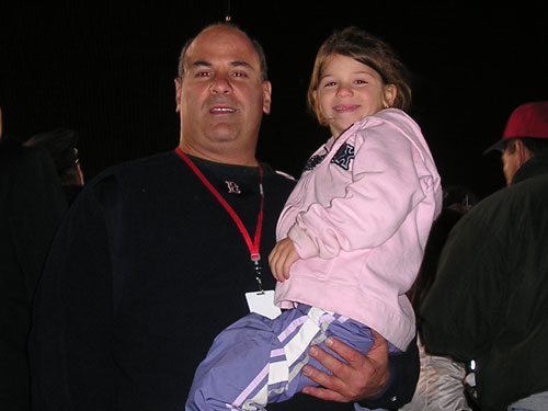 Needham's Jeff and daughter Samantha Swartz decided to get out of the cold. The temperatures headed south when the Sox blew a 5-run lead but it warmed up quickly after Mark Bellhorn's homer in the eighth.