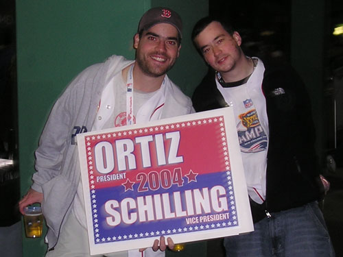 Really rock the vote. Chris Primos from Maynard wants everyone to write in the Ortiz/Schilling ticket this November. Don't forget, there's going to be a little parade for the 2004 World Series Champions coming soon, too.