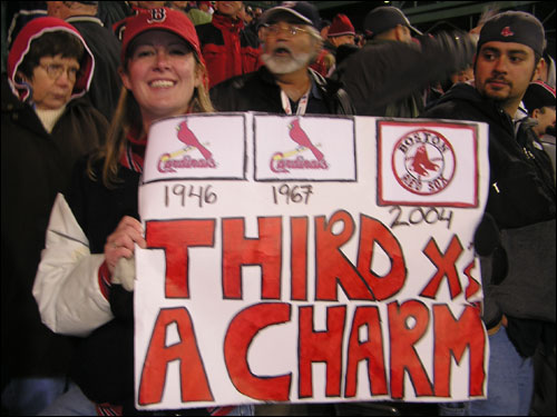 Liz Dever from Winchester thinks that after losing the World Series to the Cardinals in '46 and '67, the Sox will get the job done the third time around.
