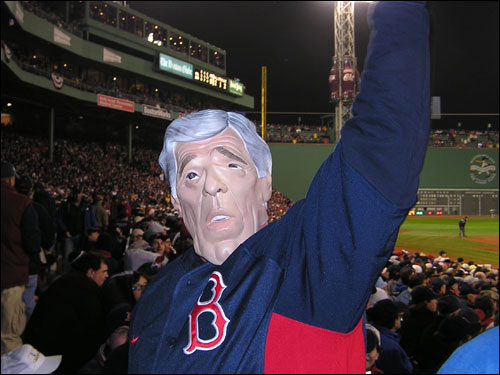 Is that John Kerry firing up the crowd at Fenway? This character didn't flip-flop when asked who would win the Series... Boston all the way. He also predicts 'Manny Ortez' is a lock for the MVP.