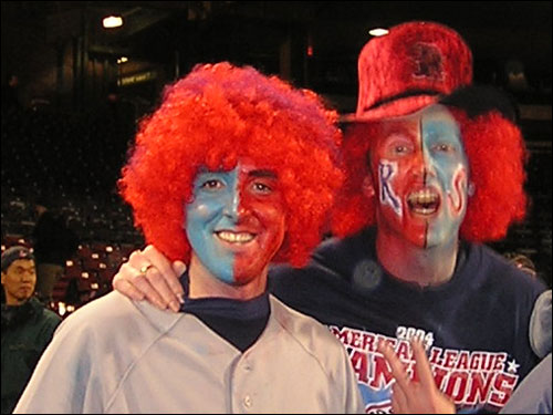 Halloween came early at Fenway last night as many fans donned wigs, face paint, and costumes to celebrate the Sox winning the first two games of the Series.
