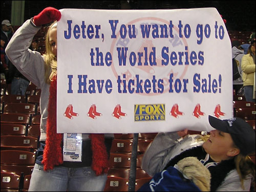 Kristina from Abington wonders if shortstop Derek Jeter, whose team was recently elimated from the 2004 playoffs, would like to get a ticket so he can watch the Red Sox play on this October.
