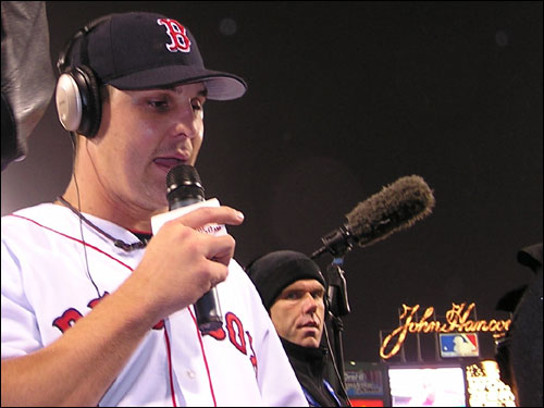Keith Foulke talks to WEEI listeners after he got the final four outs to keep the Cardinals at bay again. Foulke has been outstanding throughout the playoffs.