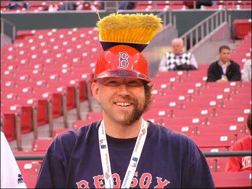 Boston's Kevin McCrae, in true idiot fashion with a half-on, half-off beard, was looking for the Red Sox to sweep the Cardinals in four games.