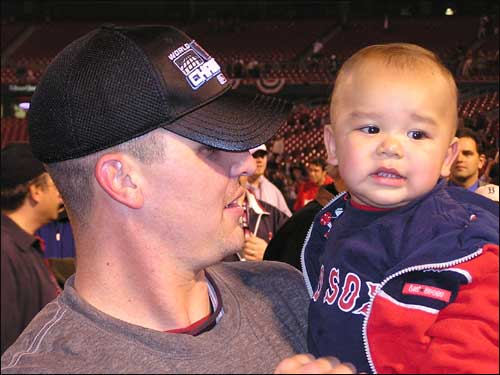 "Red Sox closer Keith Foulke, who made the final putout of the game, asks his son, ""Who's your Daddy?"" Seriously."